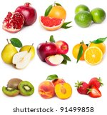 collection of fruits on white... | Shutterstock . vector #91499858