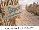 "beach access with ""beach"" sign 