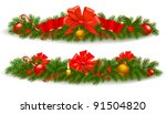 two holiday christmas garlands. ... | Shutterstock .eps vector #91504820