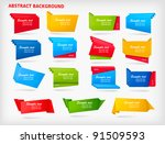 big set of colorful origami...   Shutterstock .eps vector #91509593