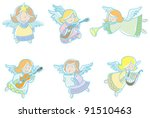 little angels. vector... | Shutterstock .eps vector #91510463