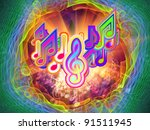interplay of music notes ... | Shutterstock . vector #91511945