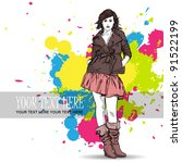 autumnal fashion girl on a... | Shutterstock .eps vector #91522199