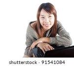 smiling woman enjoy working... | Shutterstock . vector #91541084