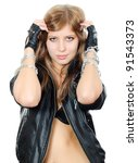 Girl in leather jacket with a chain - stock photo
