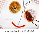 food concept smile image with strong black coffee and donut. Space for sample text - stock photo