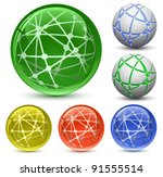 abstract globe icon set.... | Shutterstock . vector #91555514