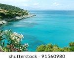 sea shore in greece with...   Shutterstock . vector #91560980