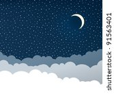 night sky with clouds  isolated ... | Shutterstock .eps vector #91563401