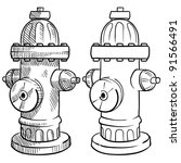 doodle style fire hydrant... | Shutterstock .eps vector #91566491