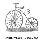 Old high wheeler bicycle line art engraving showing the state of technology, circa 1871, London. Ariel Velocipede penny farthing - stock photo