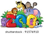 zoo sign with various animals   ... | Shutterstock .eps vector #91576910
