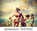 Beautiful Women In Bikini At...