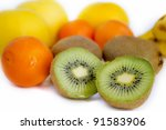 kiwi  orange and other fruits... | Shutterstock . vector #91583906