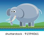 Illustrated comic elephant. Vector illustration. - stock vector