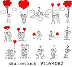 valentine doodle boy and girl ... | Shutterstock .eps vector #91594082
