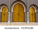 Closeup of 3 Ornate Brass and Tile Doors to Royal Palace in Fez, Morocco - stock photo