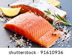 Stock photo fresh salmon with spices 91610936