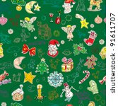 christmas pattern with toys and ... | Shutterstock . vector #91611707
