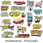 vector illustration with comic... | Shutterstock .eps vector #91621682