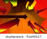 Arrows from many directions coming together for a social or business concept. - stock photo