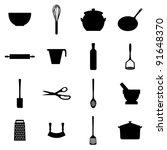 set of black silhouette kitchen ... | Shutterstock .eps vector #91648370