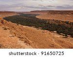 Panoramic view of a fertile valley and oasis in Sahara Desert, Morocco, Africa - stock photo
