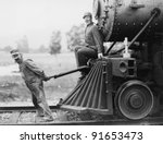 engineers pulling train engine | Shutterstock . vector #91653473