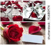 collage with roses, hearts and table setting - stock photo