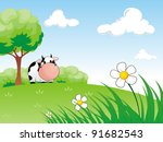 cute cow standing under the big ... | Shutterstock .eps vector #91682543