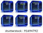 blue 2012 glass calendar.... | Shutterstock . vector #91694792