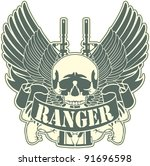emblem with a skull and the... | Shutterstock .eps vector #91696598