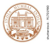 Grunge rubber stamp with ship and the word Mumbai, India inside, vector illustration