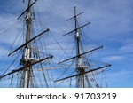 A Tall Ship Against A Blue Sky...