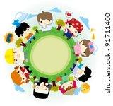 people around the globe | Shutterstock .eps vector #91711400