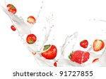 strawberries in milk splash ...   Shutterstock . vector #91727855