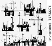 illustration of set of crane in ... | Shutterstock .eps vector #91732376