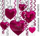 curling ribbon heart bauble...   Shutterstock .eps vector #91746953