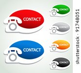 Vector phone stickers - contact icons - stock vector