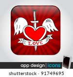 love app icon for mobile devices | Shutterstock .eps vector #91749695