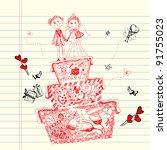 illustration of wedding cake in ... | Shutterstock .eps vector #91755023