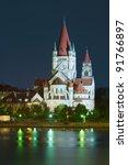 heiliger franz von assisi church and Danube river in Vienna, Austria - stock photo