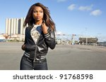 african american woman posing... | Shutterstock . vector #91768598