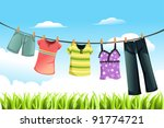 Stock vector a vector illustration of clothes drying outdoor 91774721