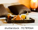 Stock photo photo of tray with breakfast food on the bed inside a bedroom 91789064