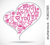 heart made of valentine symbols | Shutterstock .eps vector #91802585