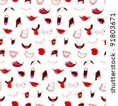 cartoon mouths seamless pattern