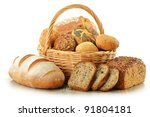 composition with bread and... | Shutterstock . vector #91804181