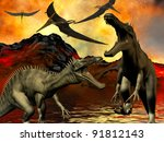 Dinosaur doomsday - stock photo