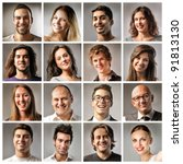 composition of smiling people | Shutterstock . vector #91813130